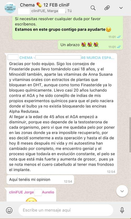 Chema 46 Murcia trasplante capilar captura de Whatsapp