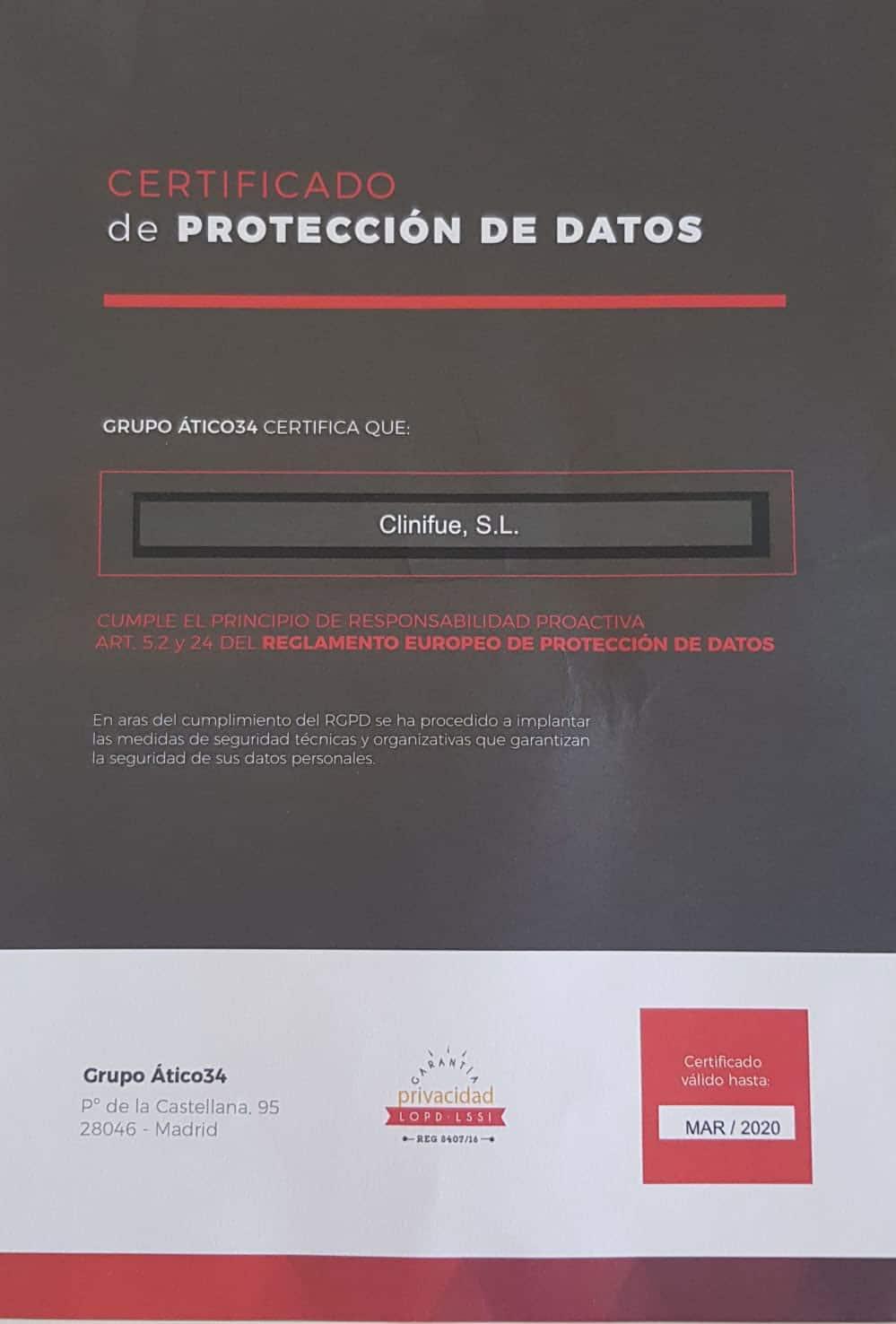 Certificado Protección de Datos 100% seguro legales